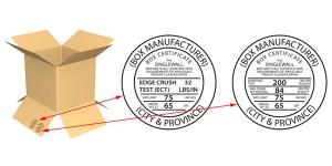 Sello de resistencia de la prueba de ECT en una caja de cartón