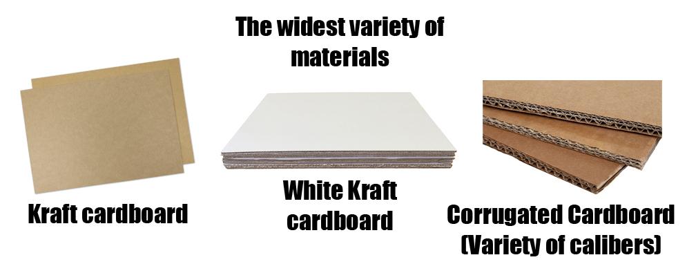 Different kind of cardboards, like Kraft cardboard and corrugated
