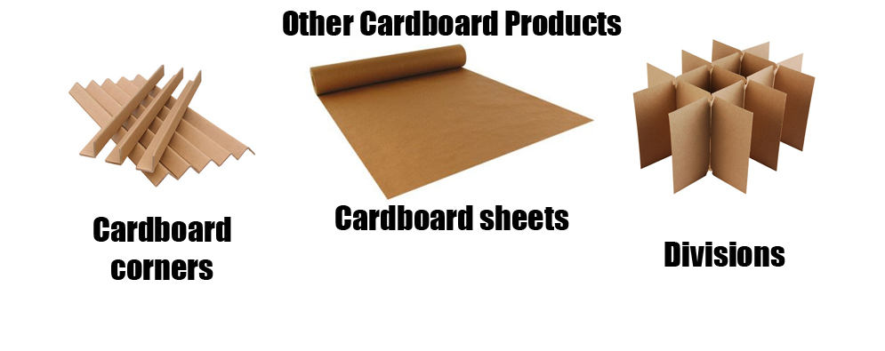 Other cardboard products such as divisions, cardboard sheets and corners for packaging