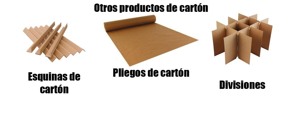 Productos de carton como esquinas de cartón, divisiones, y pliegos