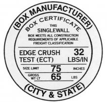 Muestra del sello o certificado que se imprime en una caja de cartón especificando sus caracteristicas ECT (edge crush test)